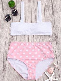 Polka Dot Straps High Waisted Bikini - Pink S