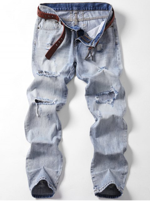 trendy Vintage Ripped Jeans - LIGHT BLUE 40 Mobile