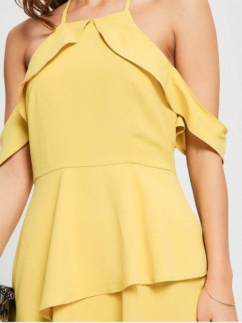 sale Layered Ruffle Cold Shoulder Dress - YELLOW M Mobile