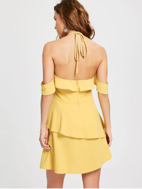 womens Layered Ruffle Cold Shoulder Dress - YELLOW XL Mobile