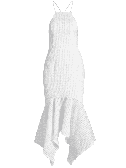 women Lace-up Textured Mermaid Prom Dress - WHITE M Mobile
