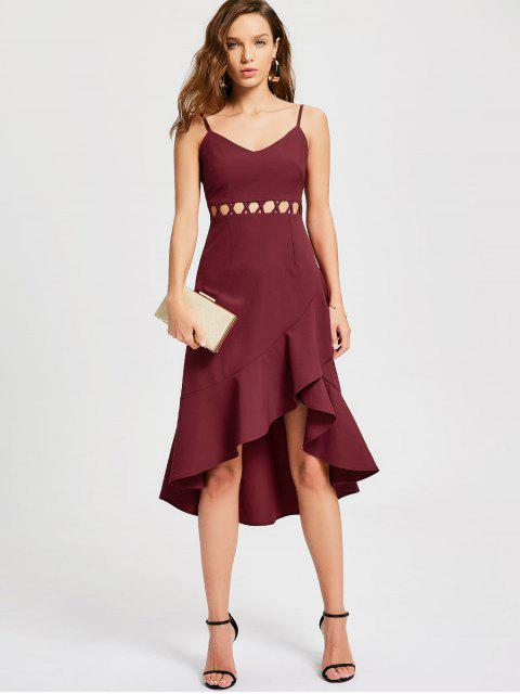 best Flouncy Cut Out Prom Dress - WINE RED L Mobile