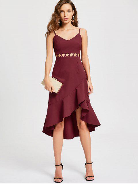 best Ruffle Cutout Slip Semi Formal Dress - WINE RED L Mobile
