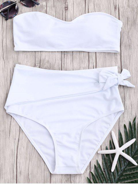hot High Waisted Knotted Bandeau Bikini Set - WHITE L Mobile