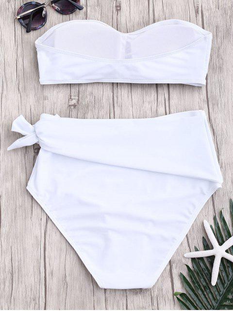 outfit High Waisted Knotted Bandeau Bikini Set - WHITE M Mobile