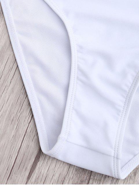 outfits High Waisted Knotted Bandeau Bikini Set - WHITE S Mobile