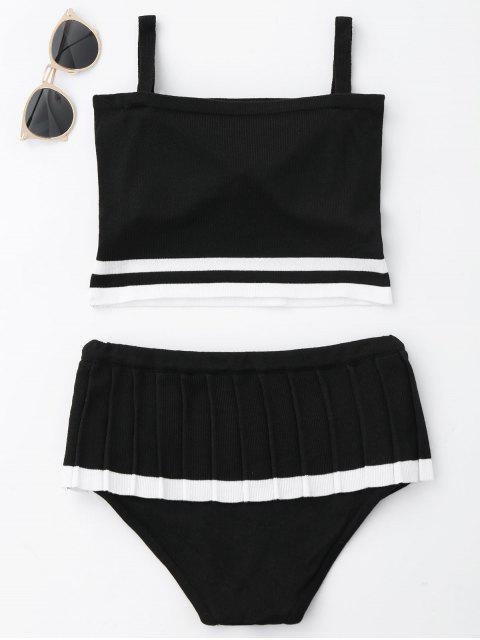 trendy Two Tone Ruffle Knit Bikini Set - BLACK ONE SIZE Mobile