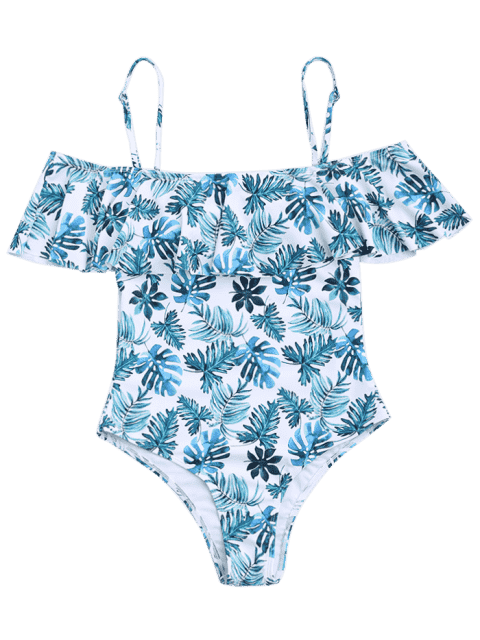 fashion Ruffle Overlay Leaf Print One Piece Swimsuit - COLORMIX L Mobile