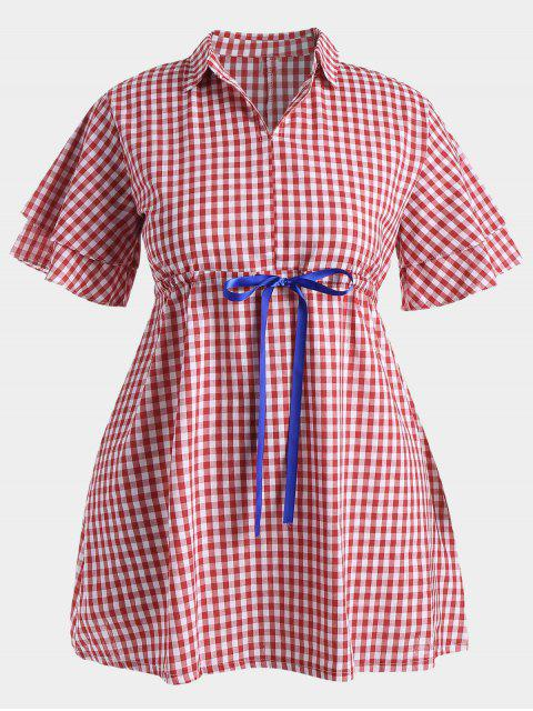unique Plus Size Drawstring Checked Dress - RED 2XL Mobile