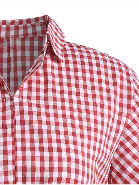 sale Plus Size Drawstring Checked Dress - RED XL Mobile