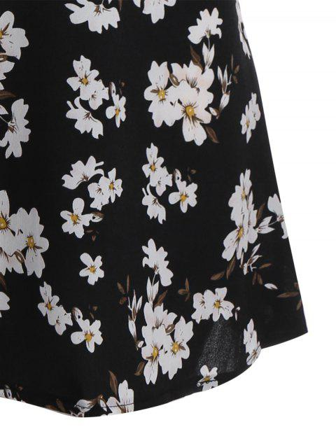 women Flare Sleeve Floral Patchwork Plus Size Dress - FLORAL 4XL Mobile