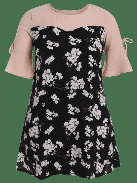 Flare Sleeve Floral Patchwork Plus Size Dress - Floral 3XL Mobile
