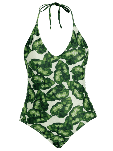 latest Leaf Print Strappy Plus Size Swimsuit - GREEN 2XL Mobile