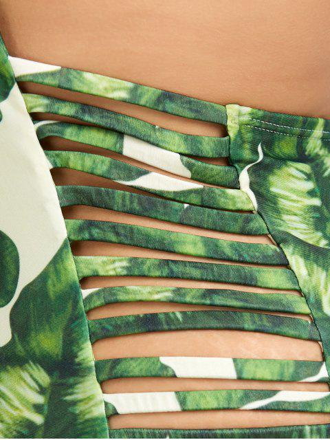 trendy Leaf Print Strappy Plus Size Swimsuit - GREEN 3XL Mobile