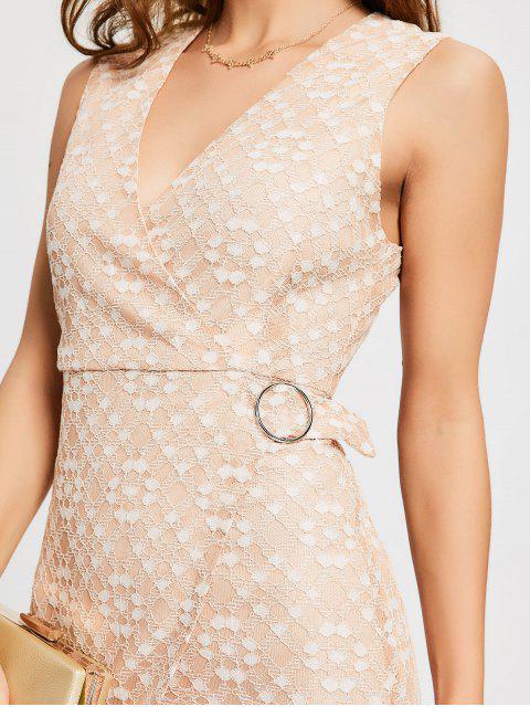 online D-ring Cutout Lace Dress - PINKBEIGE M Mobile
