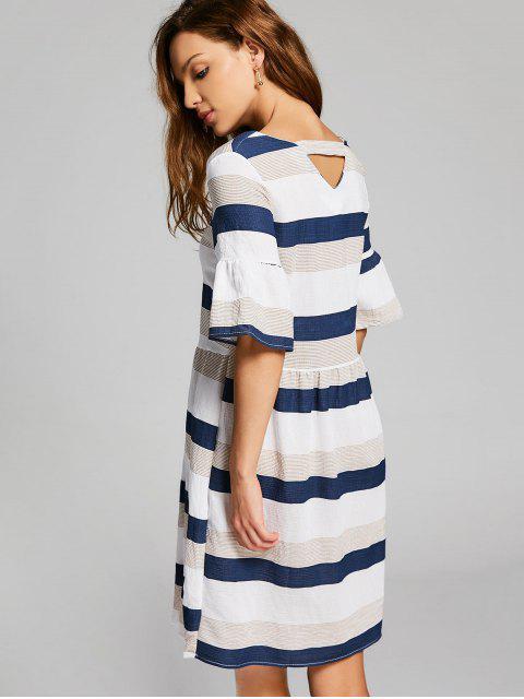 fancy Flare Sleeve Cut Out Striped Dress - MULTI M Mobile