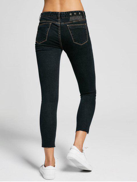affordable Skinny High Low Hem Pencil Jeans - BLACK 26 Mobile