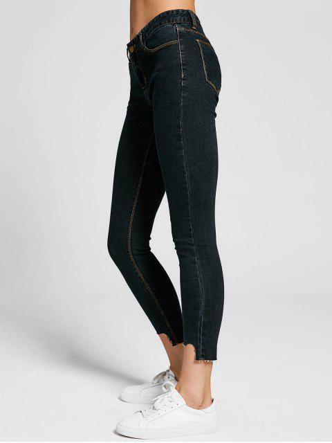 buy Skinny High Low Hem Pencil Jeans - BLACK 28 Mobile