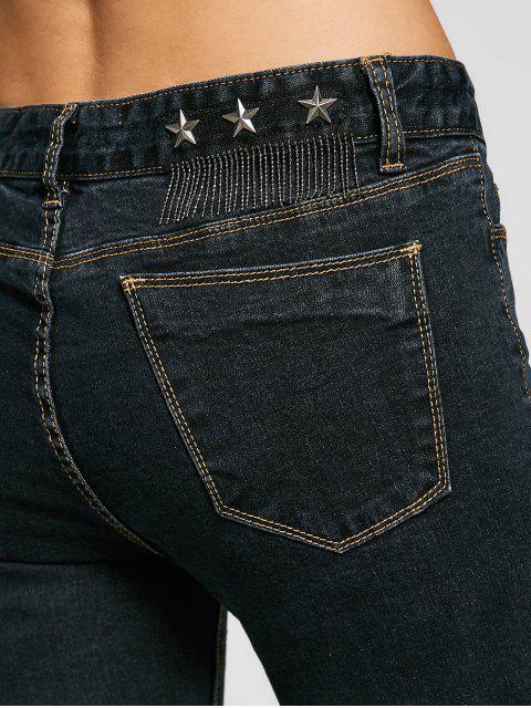 womens Skinny High Low Hem Pencil Jeans - BLACK 30 Mobile