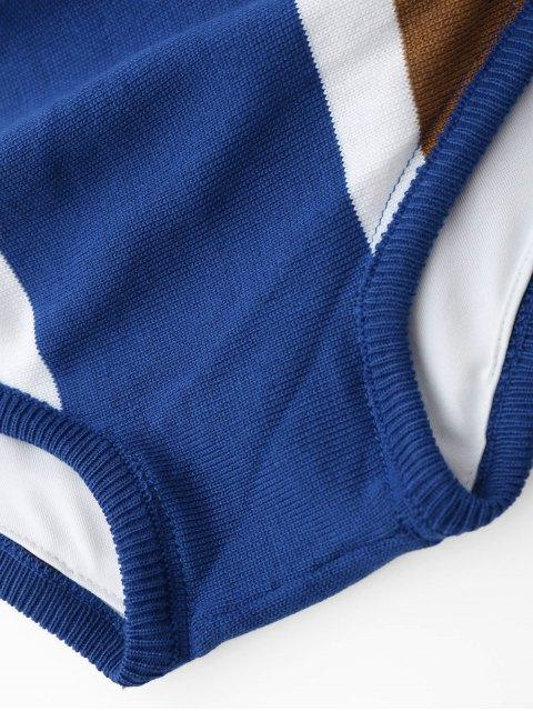 women Strapless Color Block Knit Bikini Set - BLUE ONE SIZE Mobile
