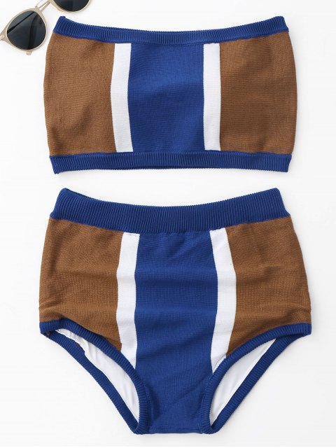 women Strapless Color Block Knit Bikini Set - BLUE ONE SIZE Mobile