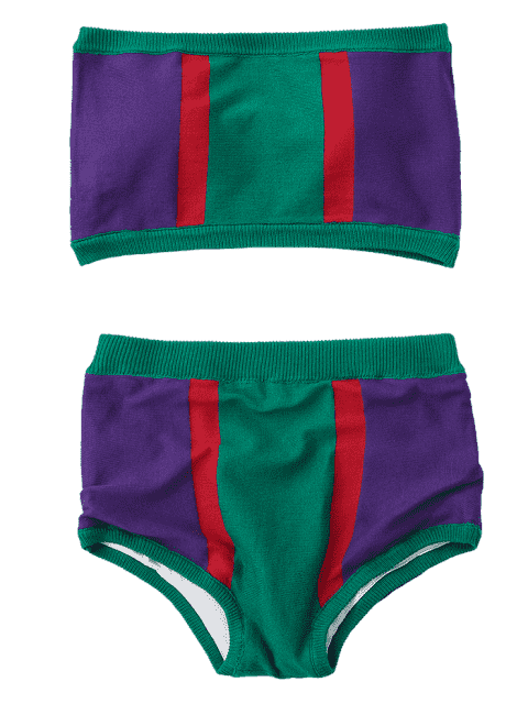 women's Strapless Color Block Knit Bikini Set - GREEN ONE SIZE Mobile