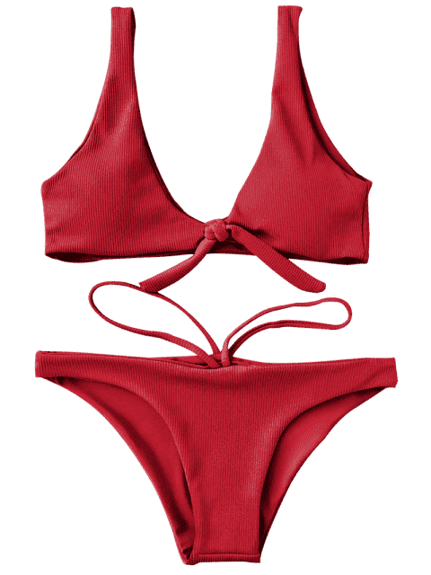 hot Knotted Textured Scoop Bikini Set - RED S Mobile