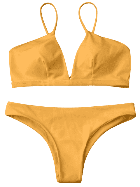 latest Padded Cami Plunge Bathing Suit - YELLOW L Mobile
