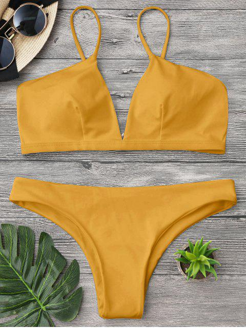 fashion Padded Cami Plunge Bathing Suit - YELLOW S Mobile