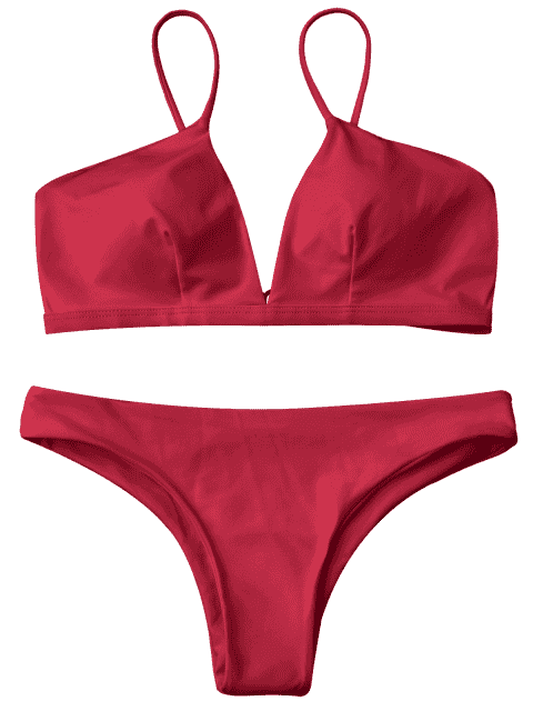 fancy Padded Cami Plunge Bathing Suit - RED L Mobile