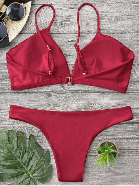 unique Padded Cami Plunge Bathing Suit - RED M Mobile
