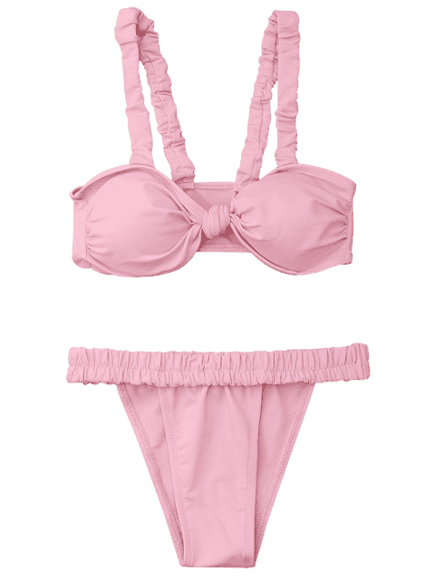 women's Smocked Padded Bandeau Bikini Set - PINK M Mobile
