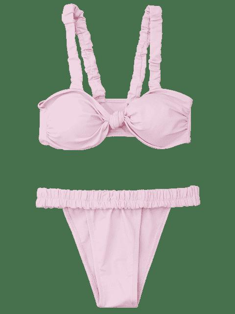 best Smocked Padded Bandeau Bikini Set - LIGHT PINK M Mobile