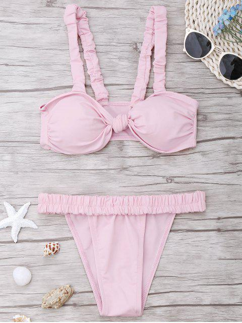 best Smocked Padded Bandeau Bikini Set - LIGHT PINK M Mobile