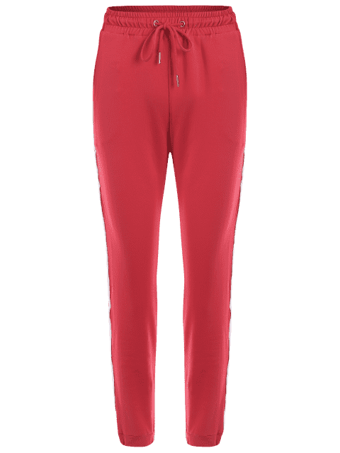 trendy Striped Drawstring Sports Pants - RED M Mobile
