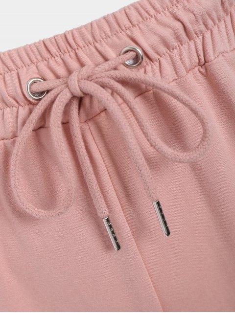fancy Striped Drawstring Sports Pants - PINK M Mobile