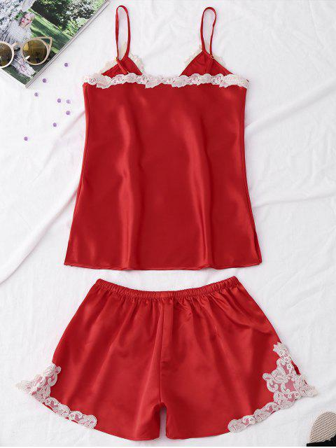 women Satin Embroidered Trim Cami Pajama Set - RED L Mobile