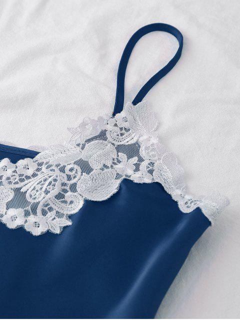 lady Satin Embroidered Trim Cami Pajama Set - SAILOR 2XL Mobile