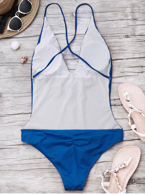 sale Embroidered Cami One Piece Swimwear - BLUE XL Mobile