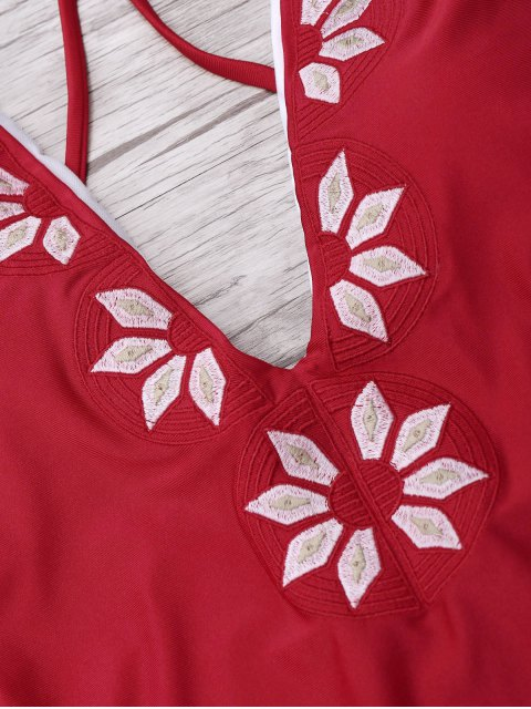 women's Embroidered Cami One Piece Swimwear - RED L Mobile