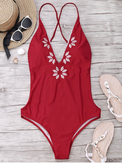 ladies Embroidered Cami One Piece Swimwear - RED M Mobile
