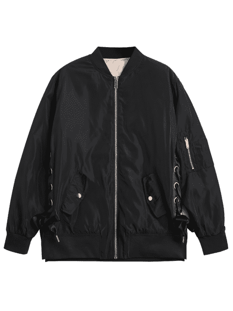 chic Lace Up Zipper Bomber Jacket - BLACK M Mobile
