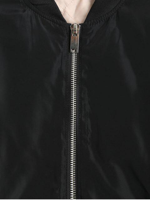 fancy Lace Up Zipper Bomber Jacket - BLACK S Mobile