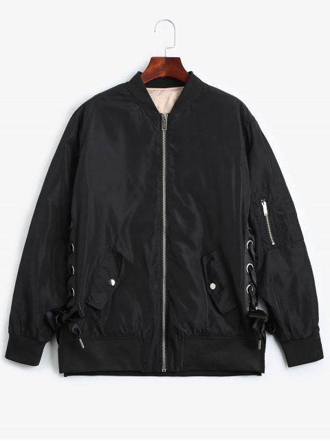 fancy Lace Up Zipper Bomber Jacket - BLACK S Mobile