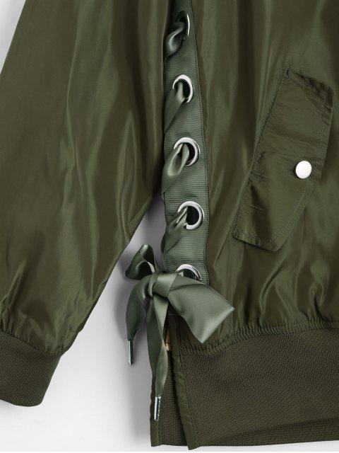 unique Lace Up Zipper Bomber Jacket - ARMY GREEN L Mobile