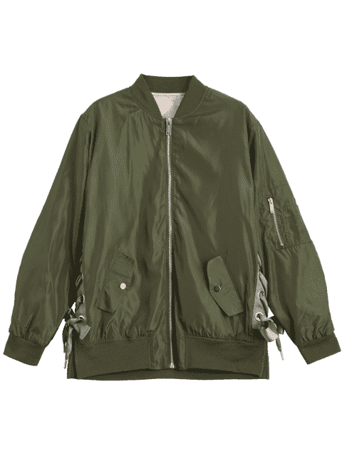 affordable Lace Up Zipper Bomber Jacket - ARMY GREEN S Mobile