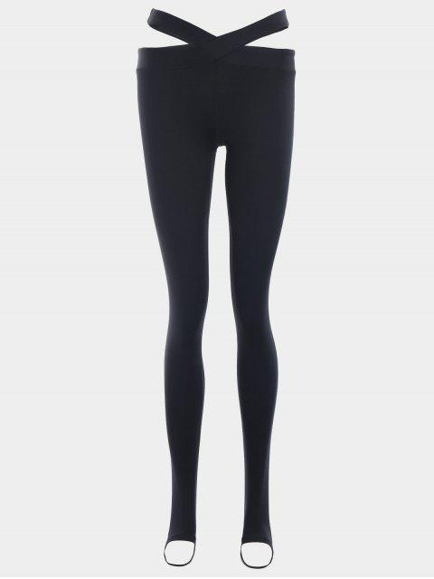 buy Stirrup Bandage Yoga Leggings - BLACK L Mobile