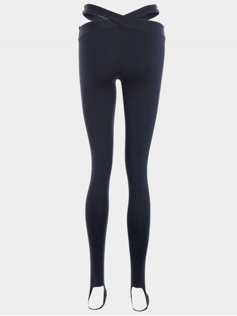womens Stirrup Bandage Yoga Leggings - BLACK M Mobile