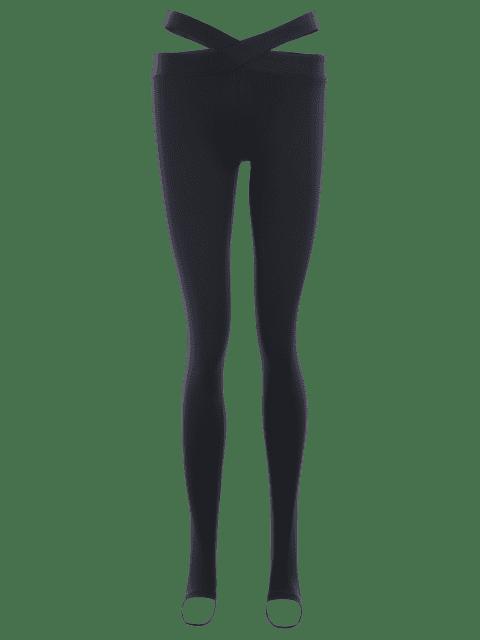 women Stirrup Bandage Yoga Leggings - BLACK S Mobile