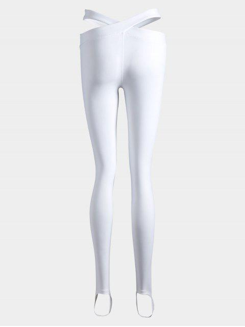 ladies Stirrup Bandage Yoga Leggings - WHITE M Mobile